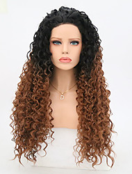 cheap -Synthetic Lace Front Wig Curly Brown Women's Lace Front Natural Wigs Long Synthetic Hair