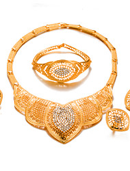 cheap -Women's Gold Plated Jewelry Set 1 Necklace / 1 Bracelet / 1 Ring - Statement / Fashion Circle Gold Jewelry Set For Wedding / Party