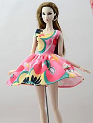 baratos -Vestidos Vestidos Para Boneca Barbie Rosa + verde Poliéster/Algodão Mistura de Linho e Poliéster Vestido Para Menina de Boneca de