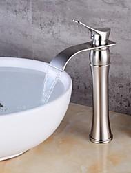 Недорогие -Современный По центру Одной ручкой одно отверстие Матовый Матовый никель, Ванная раковина кран