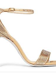 preiswerte -Damen Schuhe Leder Frühling Sommer Pumps Komfort Sandalen Stöckelabsatz für Normal Gold