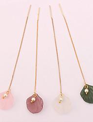 baratos -Mulheres Imitação de Pérola Brincos Compridos - Simples / Fashion / Europeu Rosa claro / Roxo Escuro / Verde Escuro Concha Brincos Para