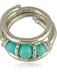 abordables -Femme Turquoise Balle Bracelets - Rétro Décontracté Argent Bracelet Pour Quotidien