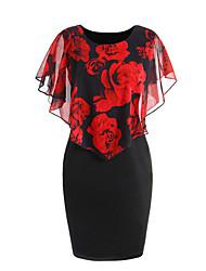 abordables -Femme Soirée Slim Moulante Robe - Effets superposés, Fleur Au dessus du genou