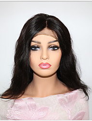 Недорогие -Не подвергавшиеся окрашиванию Лента спереди Парик Бразильские волосы Естественные волны Парик С пушком 130% Природные волосы Жен. Средняя длина Парики из натуральных волос на кружевной основе