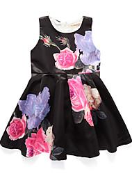 abordables -Robe Fille de Soirée Vacances Fleur Coton Acrylique Polyester Printemps Eté Sans Manches simple Mignon Noir Rose Claire