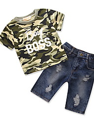 cheap -Boys' Daily Going out Geometric Print Clothing Set, Cotton Polyester Summer Short Sleeves Simple Casual Army Green