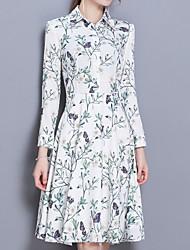 baratos -Mulheres Manga Princesa Algodão Solto Vestido - Pregueado, Floral Altura dos Joelhos Branco