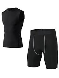 preiswerte -Herrn Active Set Ärmellos Kurze Hose Atmungsaktivität Kleidungs-Sets für Jogging Polyester Weiß Schwarz Blau Rot/Weiß Grau S M L XL XXL