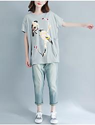abordables -Mujer Tallas Grandes Borla - Algodón Camiseta De Gran Tamaño Un Color Manga Murciélago