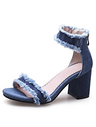 cheap -Women's Shoes Cowsuede Leather Spring Summer Novelty Sandals Chunky Heel Open Toe for Casual Party & Evening Blue