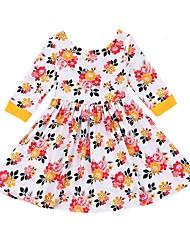 abordables -Robe Fille de Quotidien Vacances Fleur Coton Printemps Eté Manches 3/4 Décontracté Blanc