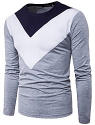 cheap -Men's Cotton T-shirt - Color Block Round Neck / ONE-SIZE fits S to M, please refer to the Size Chart below. / Long Sleeve