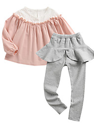 cheap -Girls' Daily Color Block Clothing Set, Polyester Spring Long Sleeves Simple Blushing Pink