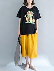 abordables -Mujer Tallas Grandes Borla - Algodón Camiseta Un Color Manga Murciélago