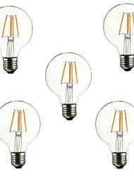 baratos -5pçs 4W 360lm E26 / E27 Lâmpadas de Filamento de LED G80 4 Contas LED COB Decorativa Branco Quente 220-240V