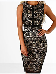 cheap -Women's Daily Holiday Cute Casual Sexy Bodycon Knee-length Dress,Color Block Embroidered Cut Out Mesh Print Round Neck Sleeveless Spring