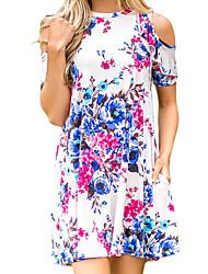 Недорогие -Жен. Хлопок Тонкие Оболочка Платье - Однотонный Цветочный принт, Классический Завышенная Мини