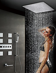 cheap -Contemporary Wall Mounted Rain Shower Handshower Included Thermostatic Ceramic Valve Five Handles Eight Holes Chrome, Shower Faucet