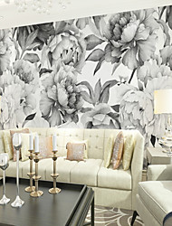 cheap -Floral Art Deco 3D Home Decoration Vintage Modern Wall Covering, Canvas Material Adhesive required Mural, Room Wallcovering