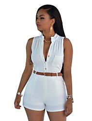 abordables -Mujer Mono - Básico, Color sólido Alta cintura Escote en Pico