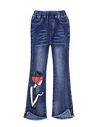 baratos -Sólido Estampado Menina de Diário Feriado Algodão Poliéster Primavera Outono Sem Manga Vestido Simples Casual Azul