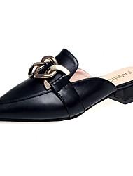 abordables -Femme Chaussures Polyuréthane Printemps Confort Sabot & Mules Talon Plat Bout pointu Noir / Beige / Jaune