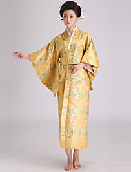 abordables -Cosplay Robes Kimono Femme Fête / Célébration Déguisement d'Halloween Jaune Doré Bleu Géométrique Kimonos