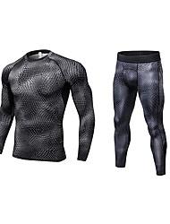 baratos -Homens activewear Set - Azul, Violeta, Vermelho / Branco Esportes Sólido Leggings / Conjuntos de Roupas Fitness Manga Longa / Pant Long Roupas Esportivas Respirabilidade Com Stretch
