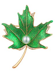 cheap -Women's Brooches Imitation Pearl Vintage Fashion Copper Gold Plated Leaf Silver Golden Jewelry For Evening Party Prom