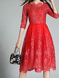 cheap -Women's Basic Puff Sleeve Sheath Dress - Floral, Lace