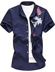 Недорогие -Муж. Рубашка Тонкие Шинуазери (китайский стиль) Цветочный принт Хлопок
