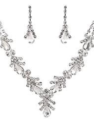 baratos -Mulheres Cristal / Zircônia Cubica / Gema Pérola / Imitações de Diamante Caído / Flor Conjunto de jóias 1 Colar / Brincos - Clássico /
