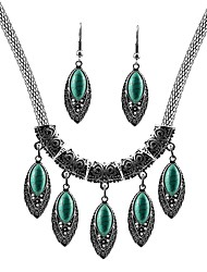 cheap -Women's Turquoise Jewelry Set - Leaf Vintage, Fashion Include Drop Earrings / Pendant Necklace Silver For Daily
