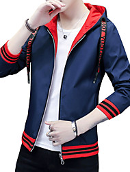 cheap -Men's Sports Street chic Jacket-Solid Colored Hooded