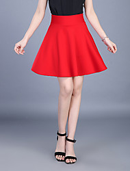 cheap -Women's Plus Size Cotton A Line Skirts - Solid Colored Pleated