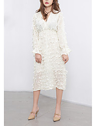 cheap -Women's Cute Flare Sleeve A Line Dress - Solid Colored, Lace Tassel