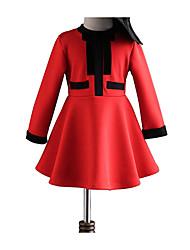 abordables -Robe Fille de Quotidien Vacances Couleur Pleine Polyester Printemps Eté Manches Longues Mignon Actif Rouge