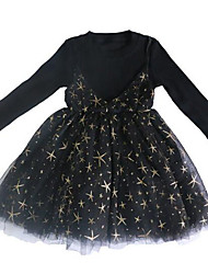 cheap -Girl's Daily Patchwork Dress, Cotton Polyester Spring Fall Long Sleeves Cute Active Black