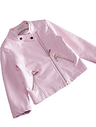 cheap -Girls' Daily Solid Colored Jacket & Coat, PU Spring Long Sleeves Cute Blushing Pink