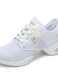 cheap -Women's Dance Sneakers Net Sneaker Flat Heel Customizable Dance Shoes White / Black / Peach / Indoor