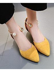 preiswerte -Damen Schuhe Mikrofaser Frühling Herbst Pumps Komfort High Heels Konischer Absatz für Normal Schwarz Gelb