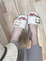cheap -Women's Shoes PU Summer Comfort Sandals Walking Shoes Flat Heel Open Toe for Outdoor White Black