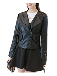 Недорогие -Жен. Кожаные куртки Воротник Питер Пен Уличный стиль-Однотонный