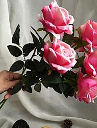 baratos -Flores artificiais 5 Ramo Casamento / Estilo simples Rosas Flor de Mesa