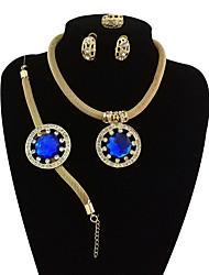 preiswerte -Damen Strass überdimensional Schmuck-Set 1 Halskette / 1 Armreif / 1 Ring - Retro / überdimensional / Erklärung Kreisform Rot / Grün /