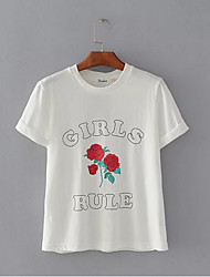 preiswerte -Damen Blumen Baumwolle T-shirt
