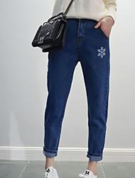 baratos -Mulheres Algodão Jeans Calças - Sólido Bordado
