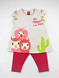 cheap -Girls' Daily Floral Animal Print Color Block Clothing Set, Cotton Summer Short Sleeves Cute Active Fuchsia