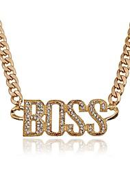 baratos -Mulheres Monograma Colares com Pendentes - Imitações de Diamante Fashion, Oversized Dourado, Prata 50 cm Colar Para Festa / Noite, Baile de Formatura